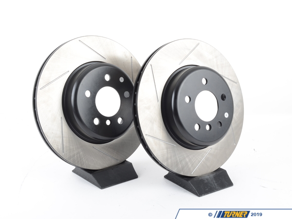T#210986 - 34206797607GS - Gas-Slotted Brake Rotors (Pair) - Rear - F30 F32 F33 with (M Sport S2NHA) - Direct replacement rear gas-slotted brake discs for BMW F30 F32 F33 with M Sport Brakes Option Code S2NHA. These rotors feature a unique black electro-coating that is designed to prevent corrosion. Each rotor is e-coated then double-ground and balanced to ensure an even surface with no vibration. The e-coating is the best anti-corrosion protection currently available in replacement rotors. Most aftermarket rotors are not coated, allowing surface rust to form right away, which is unattractive when brakes can be seen through your wheels. Slotting a rotor helps to release gases that build up between the rotor surface and an out-gassing brake pad. Without an escape, this thin layer of gas will cause a delay until the pad cuts through gas layer. The slots in our rotors allow the gases to escape giving better braking performance. For track and racing use, slotting is preferred over cross-drilling because the slots don't take away as much mass from the rotor and won't suffer from structural cracks. These rotors are the original rear M Sport brakes for the 228/328/428 as well as the 335/435.  These rotors are larger than what came on the base, Luxury, Modern, Sport, and M Sport trim packages. The dead giveaway whether or not you have the M Sport option is the rear caliper - the S2NHA option added 2-piston Brembo calipers on the rear while all of the brakes were a standard single piston caliper.F30 Brake FAQ ArticlesF30 328i Brake Package DifferencesF30 335i Brake Package DifferencesBrake Rotor Buying GuidePrice is for a pair of rotors.This item fits the following BMWs:2012+ F30 BMW 320iX 328iX 335i 335iX - Sedan2012+ F31 BMW 328i 328iX - Wagon2014+ F34 BMW 328i 328iX 335i 335iX - Gran Turismo2014+ F32 BMW 428iX 435i 435iX - Coupe2014+ F33 BMW 428i 428iX with N26 engine only 435i 435iX - Convertible 2014+ F36 BMW 428i 428iX 435i 435iX - Gran CoupeN26 engine: the rear rotors were different on the F33 428 convertible based on which engine the car has. N20 is the ULEV engine; N26 is the SULEV low emissions engine. The emissions sticker under the hood will be labeled ULEV or SULEV. - StopTech - BMW