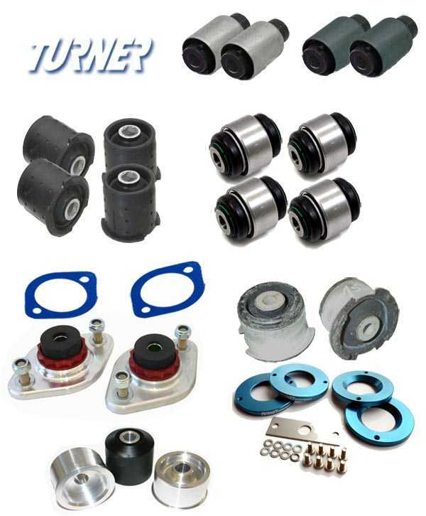 Packaged by Turner 3-series Rear Suspension Mount Package - Rubber Street Bushings - E46 (not M3) E46REARBUSHINGS
