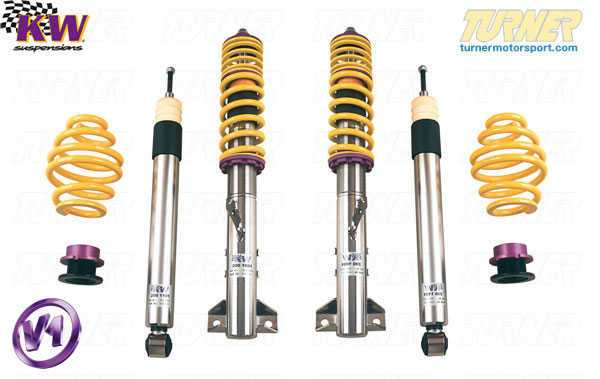 T#11560 - 10220022 - E46 323i/325i/328i/330i/ci KW Coilover Kit - Variant 1 (V1) - Factory Pre-set DampingThe Variant 1 is KW's basic simple and effective coil over kit that is still packed with lots of features -Pre-set damping optimized for a blend of ride comfort and handling with less bodyroll than the standard suspension,Stainless steel strut/shock bodies and composite spring perches for superior corrossion resistance,Individually height-adjustable - Front = 40-75mm lowering; Rear = 30-60mm lowering,TUV approved lowering range and operation,Expert engineering and design for ease-of-use and long durability,This is the ideal coil over kit for an E46 owner who does not plan on tracking or autocrossing the car and just wants a lower, more aggressive stance and better handling. KW has set the shock damping rates to be an excellent balance for a smooth yet taut ride, and to resist bodyroll motions for better handling. The Variant 1 differs from the Street Comfort set in that it has stiffer springs and revised shock settings. If you want a sportier ride and better handling than stock the Variant 1 is an excellent choice.Fitment Note: Wheel spacers may be required depending on wheel/tire sizing and ride height setting.This item fits the following BMWs:1999-2005  E46 BMW 323i 323ci 325i 325ci 328i 328ci 330i 330ci - sedan, coupe, and convertible - KW Suspension - BMW