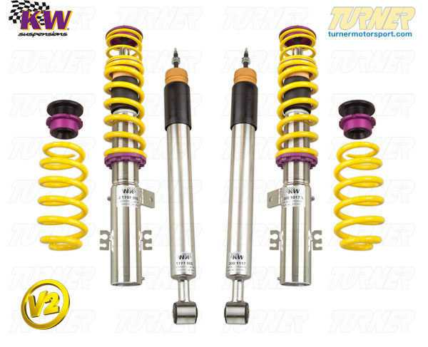 T#11590 - 15220016 - Z3 1.9/2.3/2.5i/2.8/3.0 KW Coilover Kit - Variant 2 (V2) - Adjustable Rebound DampingThe KW Variant 2 gives shock rebound control to give you more options in fine-tuning the handling of the car. The V2 includes the same features of the V1 kit, including -Adjustable Rebound with fixed compression settings - optimal ride comfort then dial in more grip and a better balance with less bodyroll than the standard suspension,Stainless steel strut/shock bodies and composite spring perches for superior corrossion resistance,Individually height-adjustable - Front = 35-70mm lowering; Rear = 30-60mm lowering,TUV approved lowering range and operation,Expert engineering and design for ease-of-use and long durability,This kit is an excellent compromise between a fully-adjustable V3 suspension and the basic V1 street kit. It's great for someone who does not want to make complicated and time-consuming shock adjustments. Just dial in the rebound for more grip and less body motions. Set it back for a compliant street ride.Coil over suspensions are better engineered suspension options compared to a standard shock + spring package. Since the springs and shocks in a coil over are designed by a team of engineers to work together, there is much better suspension travel and more precisely tuned specifications for spring and shock rates. Using separate shock and spring specs may result in premature coil bind or shock bottoming. And most coil over kits offer more features than the traditional packages. Coil overs are also more useful when larger wheels/tires are used because you can precisely set the ride heights to clear the new tires.Fitment Note: Wheel spacers may be required depending on wheel/tire sizing and ride height setting.Lifetime warranty!This item fits the following BMWs:1997-2002  Z3 BMW Z3 1.9 Z3 2.3 Z3 2.5i Z3 2.8 Z3 3.0iKW part number 15220016 - KW Suspension -
