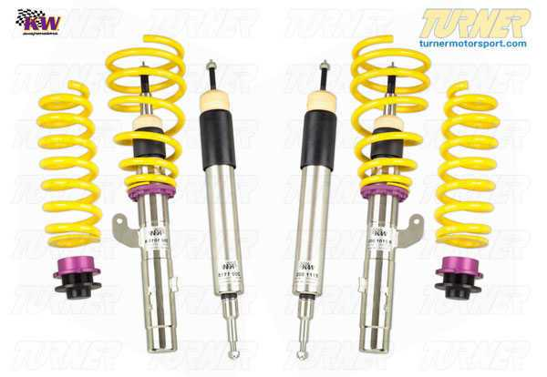 T#11643 - 35220039 - E82 128i/135i KW Coilover Kit - Variant 3 (V3) - Adjustable Rebound & Compression DampingWant full control? The KW V3 gives you multiple settings for both rebound and compression. You have full access over ride comfort and handling to dial in that perfect setup. Race teams rely on adjustments to get that perfect lap time and having shock controls at your fingertips is key. KW V3 features -Separate adjustments for compression (14 positions) and rebound (infinite settings),Stiffer springs over stock for less bodyroll than the standard suspension,Stainless steel strut/shock bodies and composite spring perches for superior corrossion resistance,Individually height-adjustable - Front = 35-65mm lowering; Rear = 35-55mm lowering,TUV approved lowering range and operation,Expert engineering and design for ease-of-use and long durability,Whether you track the car often or only use it for backroad carving the V3 will give you the tools to set up an ideal handling condition. You can crank it up for smooth and fast surfaces or soften it for city or rough roads. Since each shock is 2-way adjustable you can alter the front-rear balance to account for brake dive or squat during power application coming out of the corner. You are in total control!Coil over suspensions are better engineered suspension options compared to a standard shock + spring package. Since the springs and shocks in a coil over are designed by a team of engineers to work together, there is much better suspension travel and more precisely tuned specifications for spring and shock rates. Using separate shock and spring specs may result in premature coil bind or shock bottoming. And most coil over kits offer more features than the traditional packages. Coil overs are also more useful when larger wheels/tires are used because you can precisely set the ride heights to clear the new tires.Fitment Note: Wheel spacers may be required depending on wheel/tire sizing and ride height setting.Lifetime warranty!This item fits the following BMWs:2008+  E82 BMW 128i 135i Coupe - KW Suspension -