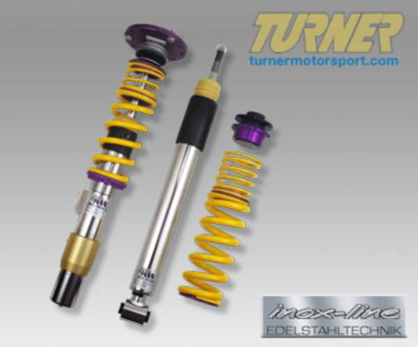"T#11686 - 35220839 - E82 128i/135i KW Coilover Kit - Clubsport - Adjustable Rebound & Compression Damping, Front Camber Plates & Stiffer SpringsKW Clubsport coilovers was developed for E82 1 series owners who demand a better handling car when participating in track day events, but also require a setup that could be used every day. The Clubsport was specifically designed for the Nordschleife using track day tires. By using the adjustable camber mounts, the suspension geometry can be adjusted to the requirements of tires and the intended use. The mentioned adjustment options combined with the independently adjustable rebound and compression damping technology allow a suspension setup according to the vehicle load, tire characteristics and different track conditions. KW Clubsport meets every demand regarding a coilover for the usage on the road and the race track.KW Clubsport suspension kits are independently adjustable in compression and rebound and include high performance racing springs. Racing front camber plates are included for further performance. KW Clubsport guarantees excellent handling, best performance, highest agility and fantastic lap times.Height adjustable coilovers -  Front - 35-65mm, Rear - 35-55mmPerformance setup for the racetrackDampers in compression & rebound forces independently adjustableUse of high performance linear race springsStainless steel technology ""inox-line""Includes front camber plate mountsFitment note: wheel spacers may be required depending on wheel sizing and offset.KW Clubsport Development and Testing  This item fits the following BMWs:2008+  E82 BMW 128i 135i - Coupe2008+  E88 BMW 128i 135i - Convertible - KW Suspension - BMW"
