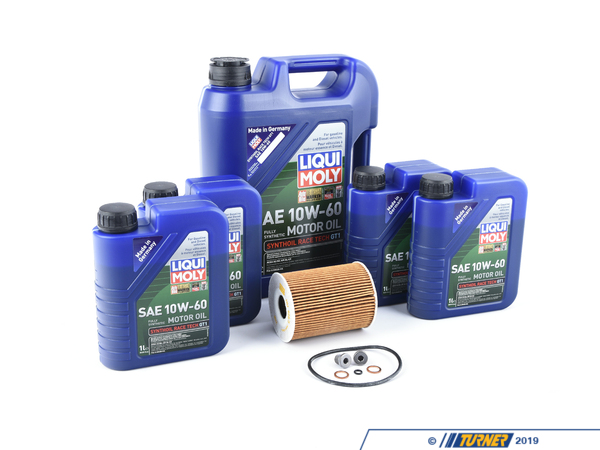 T#555445 - LM0CK19KT - Liqui Moly Synthoil Race Tech GT1 10w-60 Oil Change Kit - E9x M3 - Liqui Moly is an official sponsor of Turner Motorsport. We work closely with Liqui Moly to ensure your BMW is receiving optimal lubrication! Select your vehicle to make sure you are viewing the best Liqui Moly options for your application.Includes:9 Liters ofRace Tech GT1 10w-60 Engine OilMann Oil Filter KitGenuine BMW Oil Drain Plug & GasketSynthoil Race Tech GT1 is a modern hig performance engine oil formulated for engines that are experience extreme load pressures. Fully synthetic, the oil combines base oils and additives to provide exception lubrication and engine wear protection. This design and composition makes it a great choice to used for racing and other demanding needs. Great for both gasoline and diesel engines.Liqui-Moly is a German chemical company that offers top of the line engine oils, additives, and car care products that are designed to extend the life of your engine and ensure the best lubrication and cleanliness off engine and transmission components possible. With more than 50 years of experience and reviews across the world from magazines and race teams, Liqui-Moly proves time and time again why they are one of the most innovative lead forces of performance automotive chemicals in the world. - Packaged by Turner - BMW