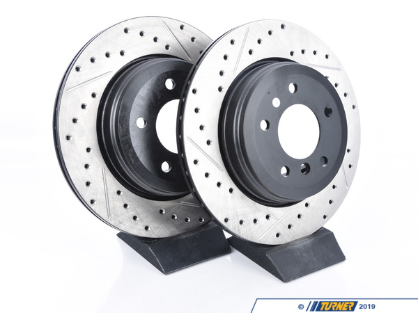 StopTech Cross-Drilled & Slotted Brake Rotors - Rear - E60 525i 528i 530i (pair) 34216753215CDS