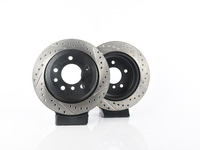 T#556762 - 025997ecs061KT - Rear V4 Cross Drilled & Slotted Brake Rotors - Pair (300x20) - ECS - BMW
