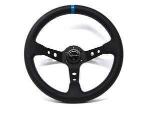 Renown 100 Motorsport Competition Steering Wheel - Genuine Perforated Leather w/ Tricolor Stitching & Blue Leather Centerline
