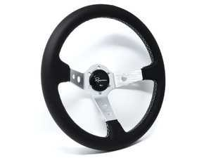 Renown 100 Silver Steering Wheel - Genuine Perforated Leather w/ White Stitching
