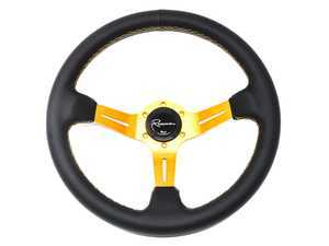 Renown Chicane Gold Steering Wheel - Genuine Leather