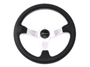 Renown Chicane Silver Steering Wheel - Genuine Leather w/ White Stitching