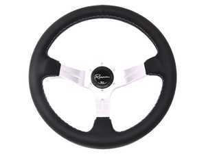 Renown Chicane Silver Motorsport Steering Wheel - Genuine Leather w/ Tricolor Stitching