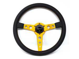 Renown Monaco Gold Steering Wheel - Genuine Leather w/ Gold Stitching