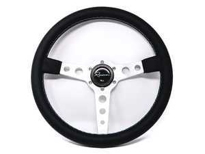 Renown Monaco Silver Motorsport Steering Wheel - Genuine Leather w/ Tricolor Stitching
