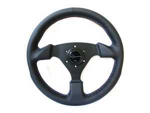 Renown Clubsport Motorsport Steering Wheel - Genuine Leather w/ Tricolor Stitching