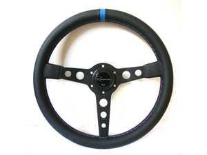 Renown Monaco Motorsport Competition Steering Wheel - Genuine Leather w/ Blue Centerline & Tricolor Stitching