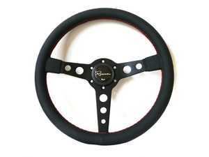 Renown Monaco Rosso Steering Wheel - Genuine Leather w/ Red Stitching