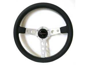 Renown Monaco Silver Steering Wheel - Genuine Perforated Leather w/ White Stitching