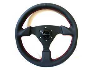 Renown Clubsport Rosso Steering Wheel - Genuine Leather W/ Red Stitching