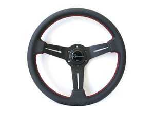 Renown Mille Rosso Steering Wheel - Genuine Leather W/ Red Stitching