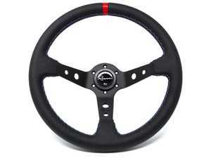 Renown 100 Motorsport Competition Steering Wheel - Genuine Leather w/ Tricolor Stitching & Red Leather Centerline