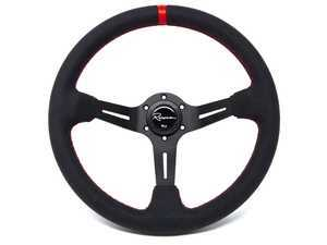 Renown Chicane Rosso Competition Steering Wheel - Alcantara Suede W/ Red Stitching & Red Leather Centerline