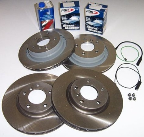 T#1779 - TMS1779 - Z3 3.0 Roadster & Coupe Brake Package (Front & Rear) - Whether you are replacing worn out stock parts on your Z3 3.0 liter, or want to improve your braking performance, this kit can be configured to suit your needs.Brake Package FAQBrake Pad Buying GuideBrake Rotor Buying GuideThe Z3 3.0 Brake Package includes Front and Rear brake rotors, front and rear brake pads, new pad wear sensors, rotor retaining screws, and one liter of ATE brake fluid (in your choice of yellow or blue tint). Stainless steel brake lines are optional (a great way to firm up your brake pedal and improve braking pressure). This package only fits 3.0 liter Z3 roadster & coupe, as produced in 2000, 2001 and 2002. Do you have questions about brake pad selection? Feel free to give us a call! - Packaged by Turner -