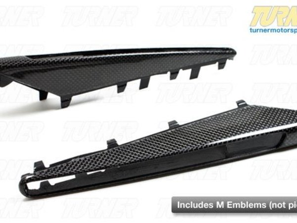 T#2108 - BM-0210-EMB - Carbon Fiber Fender Side Grill Trim Set - E90/E92/E93 M3 -  Carbon fiber is the ultimate in lightweight and stylish performance trim. Many of the E92 M3 coupes even came with full carbon fiber roofs. These carbon fiber side grills are a perfect way to get another nice carbon fiber touch, and eliminate the stock chrome strips on the fenders.These side trims work on all 2008, 2009, 2010 and newer M3 (coupe, sedan, and convertible) and install in place of the stock chrome pieces. They are made of high quality carbon fiber, and come complete with Genuine BMW ///M3 emblems. Installation only takes a few minutes, and the look and fit perfectly -- just as if they were factory parts (but at a lower cost than what BMW would charge).  - Turner Motorsport -