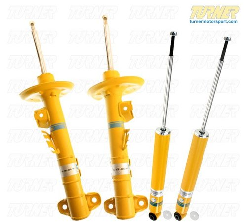 T#3704 - E36318EARLYHDSET - E36 Bilstein HD Shocks - E36 318i to 6/92  (Set of 4) - 91-5/92 production dates but check the swaybar mounting link before ordering; for stock springs; Set = 2 front + 2 rear. Includes top nuts and rear lower shock washer. The stock rear dust boots are re-used.  The Bilstein Heavy Duty (HD) Shock is designed for use with stock springs. These shocks provide improved handling and stability without sacrificing ride comfort.This item fits the following BMWs:1992-6/1992  E36 BMW 318i 318is 318ic Click here for important installation information. - Bilstein - BMW