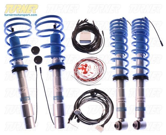 "T#1513 - GA5-D516-H0 - E60 525i/528i/530i/535i/545i/550i Bilstein B16 EDC Coil Over Suspension - Bilstein puts shock damper control at your fingertip with their B16 Ride Control coil over system. The RideControl is a performance coil over system combined with EDC technology for cars that were not available with EDC from the factory. Now you can choose your suspension stiffness on the fly along with the benefits of a Bilstein PSS coil over!An EDC (Electronic Damping Control) system uses an electronic control module wired to each shock absorber to vary the stiffness of the shock. With the Bilstein B16 kit you can choose between a primary Comfort setting or a stiffer Sport setting via a dash mounted button. You can leave it in Comfort for around-town running and instantly get a tighter and more responsive suspension for twisty country roads. The Comfort setting is also dynamic - sensing road characteristics and g-forces to instantaneously firm the suspension when you're pushing the car, just like a factory installed EDC system. This is the ultimate E60 suspension!The basic kit is a Bilstein PSS system with true coil over front struts, rear shocks, four springs, height adjusters, and the EDC module, wiring, and button. The front struts are zinc coated for superior corrosion resistance. The system installs just like a normal suspension and uses the factory original front upper strut mounts. The rear requires the purchase of new shock mounts because of the larger shock shaft. You can choose to mount the EDC control module anywhere in the car (we chose the trunk floor) and then plug the harness into each shock and mount your button in the dash. Ride height can be set from 1.0""-1.75"" lower than stock. Installation instructions included but professional installation is strongly recommended. This kit is TUV certified and a limited lifetime warranty from Bilstein covers the entire kit.This coilover kit fits the following BMWs:2004-2010  E60 BMW 525i 530i 528i 535i 545i 550i - Bilstein - BMW"