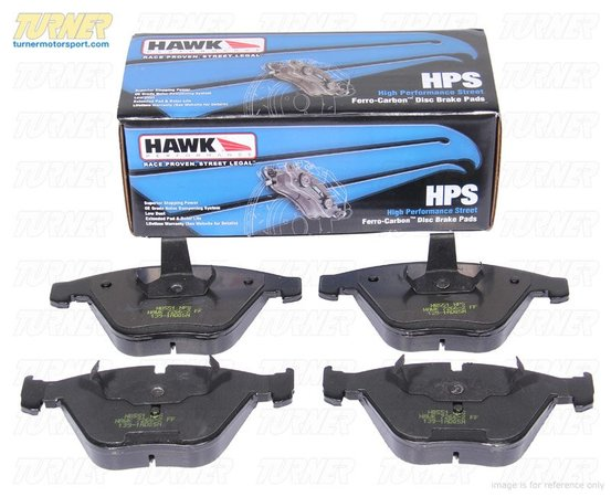 T#5982 - TMS5982 - Hawk HPS Street Brake Pads - Front - E60 M5, E63/E64 M6 - A high-performance street pad with much-improved braking performance and significantly reduced brake dust. The HPS pads are perfect for drivers who dont want an ordinary replacement pad and want something that will hold up for aggressive street. With the HPS pads you can expect:  Increased stopping power even when the pads are cold Longer pad life Low dust compared with other performance pads Quiet operation  In addition, the HPS pads are easy on rotors. And Hawk stands behind their pads with a limited lifetime warranty against defects.This pad set includes pads for both FRONT brakes.FRONT Brake Pad Applications:2006-2010  E60 BMW M52006-2011  E63 E64 BMW M6 - Hawk - BMW