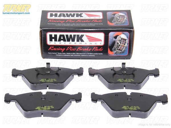 T#5987 - TMS5987 - Hawk HT10 Race Brake Pads - Front - E60, E82, E89, E9X - The Hawk HT10 compound combines the high torque levels of the aggressive Hawk Blue with a revised friction compound that makes it easier to modulate and wears nicer on rotors. The HT10 remains consistent over a wide range of temps and can even work when cold. It's been a popular pad for racers looking for the performance of a Hawk Blue but is not as harsh on rotors.Features and Characteristics:+ very high torque performance+ high temp range+ up to 1300*F+ mild abrasive metallic content does not require high heat to work+ excellent modulation at high temps+ a 'friendly and easy' pad to useThese Hawk race pads fit the following BMWs:2004-2005  E60 BMW 525i (manual transmission only)2008+  E82 BMW 128i2006  E90 BMW 323i 325i 325xi - Sedan2007  E90 BMW 328i 328xi 328i xDrive - Sedan (2007 model only)2007  E91 BMW 328i 328xi 328i xDrive - Wagon (2007 model only)2007  E92 BMW 328i 328xi 328i xDrive - Coupe (2007 model only)2007  E93 BMW 328i - Convertible (2007 model only)2006  E90 BMW 330i 330xi - Sedan2009+  E89 Z4 BMW Z4 sDrive30i Z4 sDrive35i - Hawk - BMW