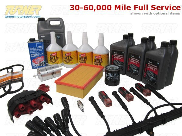 T#14308 - TMS14308 - E28 535i/is, E24 635CSi Maintenance Service Package - Don't up with the maintenance on your car is the smart thing to do. For one thing, it prevents costly repairs in the future. For another, your car performs better, making aftermarket upgrades more worthwhile. And a well-maintained car with complete service records can add substantially to a car's resale value. Our service packages for your M30 engine will ensure you get many more miles from your vintage BMW.This package can be configured any number of ways to ensure you get what you need for a full Inspection I, Inspection II, or any other major preventative maintenance service. Our parts are OE, OEM, or performance alternatives that we have been using since 1993 so you get top quality parts, first-rate service, and unbeatable expertise.5,000 Mile Oil Service (click to expand)   engine oil change with filter, using OE BMW 5W30 or Motulinstall or clean magnetic drain plugreplace drain bolt crush washerreset oil service/maintenance lightinspect and top off any other fluids   Annual Service (click to expand)   air filter cleaning or replacementbrake fluid flush/bleedingtop off power steering fluidwiper blade replacementlubricate door hinges and treat rubber door sealsinspect spare tire, including pressure, and tire-changing toolsinspect belts for cracking or stretchinginspect intake boot, cold start injector, and crankcase vent hose for crackslubricate throttle linkageinspect brake system for pad wear, rotor wear, parking brake operation, and brake pedal pressureinspect bushing and ball joints for excess play/movementensure the cooling systems are functioning correctly (hoses and thermostat, auxiliary fan, A/C system, etc)30,000 Mile Major Service (click to expand)   engine oil change with filter, using OE BMW 5W30 or Motulreset oil service/maintenance lighttransmission fluid change, using Red Line MTL or Motul 75W80differential fluid change, using Red Line 75/90 or Motul Gear300air filter replacement or cleaning for aFe/K&N typebrake fluid flush/bleedingfuel filter replacementengine v-belt replacementfill and bleed cooling systemcomplete chassis inspection, including: front control arms, tie rods, ball joints, wheel bearings, rear trailing arm bushings, rear upper shock mounts, rear subframe mounts, rear sway bar mounting tabs, axle shaft bootscomplete brake system test and inspectionengine and transmission leak detection and diagnosisshifter linkage, driveshaft guibo, CV, and center support bearing inspectionexhast system inspection, including hanger replacement60,000 Mile Major Service (click to expand)   spark plug replacementignition cap and rotorignition wire setengine oil change with filter, using OE BMW 5W30 or Motulreset oil service/maintenance lighttransmission fluid change, using Red Line MTL or Motul 75W80differential fluid change, using Red Line 75/90 or Motul Gear300air filter replacement or cleaning for aFe/K&N typebrake fluid flush/bleedingfuel filter replacementengine v-belt replacementfill and bleed cooling systemcomplete chassis inspection, including: front control arms, tie rods, ball joints, wheel bearings, rear trailing arm bushings, rear upper shock mounts, rear subframe mounts, rear sway bar mounting tabs, axle shaft bootscomplete brake system test and inspectionengine and transmission leak detection and diagnosisshifter linkage, driveshaft guibo, CV, and center support bearing inspectionexhast system inspection, including hanger replacementYou may also want to pick up these other helpful items:replace your drain plug with a magnetic oneBentley Service ManualPeake Service Light Reset ToolThis package fits the following BMWs:1985-1988  E28 BMW 535i 535is with manual transmission only1982-1989  E24 BMW 635CSi with manual transmission onlyPut a check in the boxes next to the items you wish to order. - Packaged by Turner -