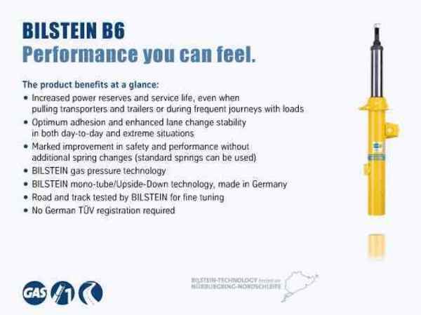 T#21478 - TMS21478 - Bilstein B6 Performance Shocks & Struts Set - F10 528i/535i/550i - Bilstein's B6 Heavy-Duty shock absorbers will give you more control and better handling without having to lower your car or destroy your ride. If you want less bodyroll and more precise handling these Bilstein performance shocks for the 528i, 535i, and 550i will deliver without compromise. Bilstein uses a unique and patented valving system to stiffen the shock while still providing stock levels of ride comfort. The stiffer shocks will control body motions better than the original BMW shock absorbers which means less brake dive, body roll in corners, and squat under acceleration. These are the perfect handling improvement on the F10 without resorting to springs or coil overs. Bilstein shocks come with a limited lifetime warranty and install with all of the stock mounting pieces for a seamless shock replacement.This discounted package price is for a set of 4 Bilstein HD shocks, including:24-178488, front left shock24-178495, front right shock24-176255, rear shocks (x 2)These shocks are for the standard suspension only. For replacement shocks for the BMW sport package, see the Bilstein Sport shocks below.Not for cars with EDC electronically adjustable shocks unless EDC has been properly removed from the vehicle.This item fits the following BMWs:2011+  F10 BMW 528i 535i 550i with standard suspension not for cars with self-leveling or EDC suspension. - Bilstein - BMW