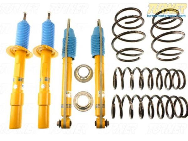 T#22139 - 46-181107 - Bilstein B12 Pro-Kit Suspension System - E60 525i/528i/530i - Bilstein has teamed up with Eibach to offer matched shock and spring packages. These Eibach springs are mated to a special set of Bilstein shocks to deliver a sporty and taut ride with as little impact on ride comfort as possible.The Pro Kit uses an Eibach Pro Kit spring with Bilstein's Sport shocks and struts. Instead of taking parts from different manufacturers, Bilstein has tested the performance of the Eibach spring and tailored their shocks to be a true match for the new spring rate and ride height. This is known as a matched shock and spring and very few tuning companies take these extra steps. Eibach springs tend to be softer overall than most other aftermarket springs, which ensures the ride stays close to a stock comfort while still giving you a lowered stance and improved handling.Bilstein B12 Features:Precise response and excellent driving performanceSprings and shocks road tested and fine-tuned to complement one anotherBilstein Monotube/Inverted gas pressure technologyTUV certifiedMade In GermanyAverage Lowering of 25 to 40mmMost cars don't need coil overs to improve their handling and bodyroll. For most drivers, simply replacing the shocks and springs with performance versions will meet their goals. If your shocks need replacing, and you felt the handling could be improved a little bit, this is an excellent performance suspension for you.This item fits the following BMWs:2004-2010  E60 BMW 525i 530i 528i - Bilstein - BMW