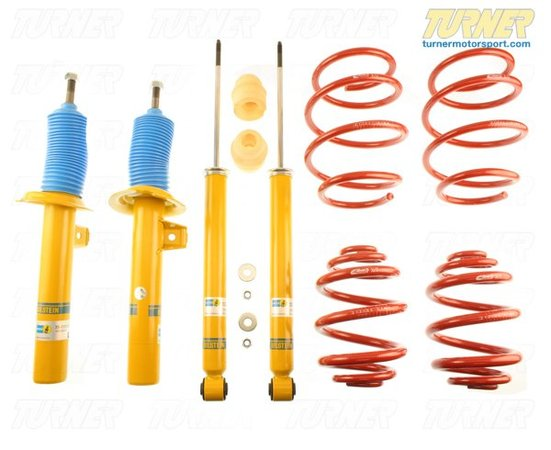 "T#22144 - 46-180117 - E46 323/325/328/330i Bilstein B12 Sportline Sport Suspension Package - Bilstein has teamed up with Eibach to offer matched shock and spring packages. These E46 Eibach springs are mated to a special set of Bilstein shocks to deliver a sporty and taut ride with as little impact on ride comfort as possible.The E46 B12 Sportline Kit uses an Eibach Sportline spring with Bilstein's Sport shocks and struts. The Sportlines are lower and stiffer than a standard Pro Kit spring for even greater reduction in bodyroll and better handling. Instead of taking parts from different manufacturers, Bilstein has tested the performance of the Eibach spring and tailored their shocks to be a true match for the new spring rate and ride height. This is known as a matched shock and spring and very few tuning companies take these extra steps. The B12 Pro Kit lowers the E46 by different amounts for sedan or coupe: up to 2.0"" / 1.0"" for sedan and up to 1.0"" / 1.0"" for a coupe.Bilstein B12 Features:Precise response and excellent driving performanceSprings and shocks road tested and fine-tuned to complement one anotherBilstein Monotube/Inverted gas pressure technologyTUV certifiedMade In GermanyMost cars don't need coil overs to improve their handling and bodyroll. For most drivers, simply replacing the shocks and springs with performance versions will meet their goals. If your shocks need replacing, and you felt the handling could be greatly improved, this is an excellent E46 performance suspension for you. Special introductory pricing means you essentially get the springs at a deep discount!This item fits the following BMWs:1999-2005  E46 BMW 323i 323ci 325i 325ci 328i 328ci 330i 330ci  - Bilstein -"