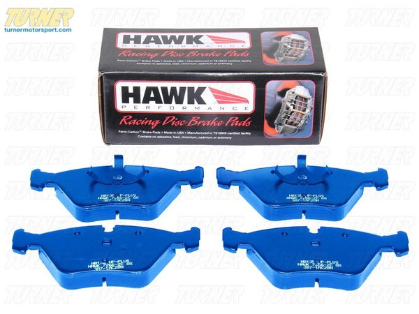 T#3990 - TMS3990 - Hawk Blue Racing Brake Pads - Front - E32, E34, E36 M3, E46 M3, E39 528i, MZ3 - Hawk Blue racing pads are among the most aggressive track pads on the market. The formula for the friction material ensures a high level of braking performance especially at elevated temperatures. Hawk Blue pads have been a favorite of club racers for over a decade. Few pads can match their torque output at race temps. These pads do not work well when cold and will be abrasive to your rotors.Features and Characteristics:+ very high friction / torque performance+ medium temp range+ up to 1000*F+ abrasive metallic content that requires heat+ good, predictable modulation at high tempsThese Front Hawk Blue Race Brake Pads fit the following BMWs:1988-1994 E32 BMW 735i, 735il, 740i, 740il 750il1989-1995 E34 BMW 525i, 530i, 535i, 540i, M51995-1999 E36 BMW M31997-1998 E39 BMW528i1997-2002 Z3 BMW Z3 M Roadster/ M Coupe including S52 and S54 versions2001-2002 E46 BMW M3 - Hawk - BMW