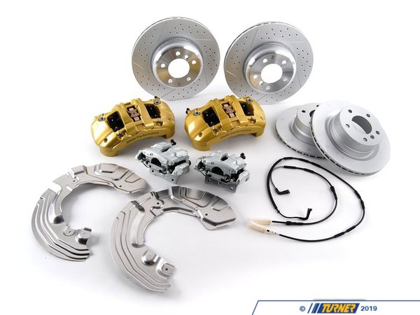 "T#3168 - 34110444772 - Genuine BMW Performance Brake Kit - E82 E88 128i - The greater the power at your disposal, the great the importance of control.  So it's not just how fast a car can go from 0 to 60 mph that matters, but also how fast it can go from 60 to 0 mph.  The BMW Performance braking system is specifically designed to handle the rigorous demands imposed on it by sporty street driving or track driving.  At the heart of the system are the aluminum 6 piston fixed calipers and ventilated, cross-drilled rotors on the front.  The design of these elements reflects their sporting origins, and the light weight of the system reduces the unsprung weight of the car, and so improves driving dynamics.   The BMW Performance braking system performs particularly well in the wet - the grooves and holes in the discs prevent a film of water from forming between the brake disc and brake pad.  The system makes an equally dramatic visual impact; the front-axle brake calipers feature BMW Performance lettering and are painted BMW Performance Yellow. Kit includes front 6 piston calipers, rear single piston calipers, 338x26mm front rotors, 300x20mm rear rotors, BMW brake pads, sensors and hardware. 17"" or larger wheels are required. (PN: 34110444772)This item fits the following BMWs:2008+  E82 BMW 128i Coupe2008+  E88 BMW 128i Convertible - Genuine BMW M Performance - BMW"