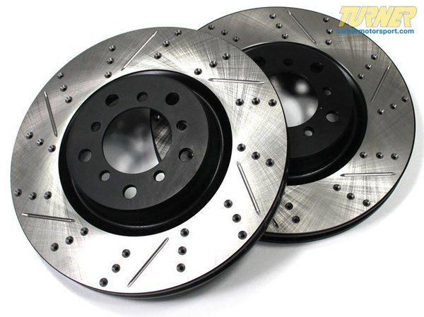 T#210978 - 34119804828CDS - Cross-Drilled & Slotted Brake Rotors - Front - MINI Cooper Countryman R60 (Pair) - Slotting a rotor helps to release gases that build up between the rotor surface and an out-gassing brake pad. Without an escape, this thin layer of gas will cause a delay until the pad cuts through gas layer. The slots in our rotors allow the gases to escape giving better braking performance. Cross-drilling a rotor is a way to improve initial pad bite. With the additional leading edges at each hole, the pad is able to grab the rotor just a little bit harder. By combining both Cross-drilling and slotting, these rotors combine the best of both worlds. Fewer holes mean longer pad life with little penalty in the way of initial pad bite. These rotors feature a unique black electro-coating that is designed to prevent corrosion. Each rotor is e-coated then double-ground and balanced to ensure an even surface with no vibration. The e-coating is the best anti-corrosion protection currently available in replacement rotors. Most aftermarket rotors are not coated, allowing surface rust to form right away, which is unattractive when brakes can be seen through your wheels. This item fits the following MINIs:2011+  R60 MINI MINI Cooper Countryman2011+  R61 MINI MINI Cooper Paceman - StopTech - MINI
