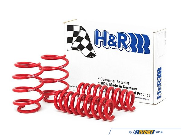 "T#361 - 29053-1 - H&R Sport Spring Set - E90/E92 M3 (2008+) - Direct from Germany, H&R Springs are the highest quality sport springs available. This spring set will help firm up what many consider to be a fairly ""soft"" stock suspension (at least for a BMW ""M"" car). They will also make a subtle and noticeable visual improvement to the E90/E92 M3's stance, reducing the perceived fender gap of the stock ride height. This spring kit fits all 2008 and newer E90 sedan and E92 M3 coupe, with AND without electronic dampening control (EDC).We've installed these on our own 2008 M3 sedan project car (the white car pictured) and love the way these spring feel. They transform the handling into more of what (we feel) an M car should feel like -- sharp cornering with only a small sacrifice in ride quality. The ride is still very compliant and well suited for city streets, keeping the ride quality very close to the stock ride comfort even with 20"" wheels! Now that's a well engineered set of springs!M3 with Stock BMW SuspensionFront Lowering 1.0"" Rear Lowering 0.6""M3 with Competition Package Front Lowering 0.75"" Rear Lowering 0.25""This item fits the following BMWs:2008+  E90 BMW M3 Sedan2008+  E92 BMW M3 Coupe - H&R - BMW"