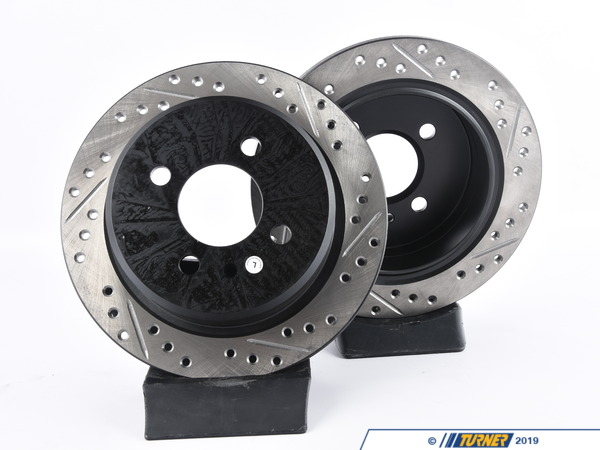 StopTech Cross-Drilled & Slotted Brake Rotors - Rear - E30 318, 325e/i (Pair) 34216755407CDS