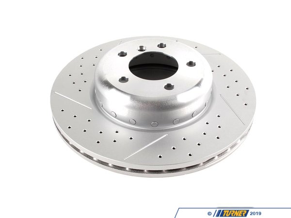 Genuine BMW M Performance Cross-Drilled & Slotted Brake Rotor - Front - E82 135i 34116786392
