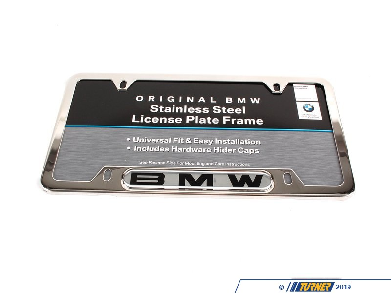 t338 82120010395 genuine bmw license plate frame chromesilver polished