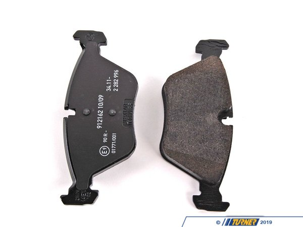 T#2836 - 34112282995 - Genuine BMW Brake Pads - E34 M5, E36 M3 Euro, E46 M3 Euro/ZCP - Front - These pads were originally equipped on the Euro E46 M3 models and the US M3 ZCP, as well as Euro-spec M models from the 1990s. Owners of the E46 M3 will know that the stock pads are already quite 'aggressive' from the factory with a lot of initial bite. The initial bite was built into the pad to stop criticism of BMW's lack of 'performance' brakes. Instead of building the M models with exotic - and expensive - multi-piston calipers, BMW engineers turned up the braking power in their pads. These pads go a step further as the pads that originally came on the Euro E46 M3 and all E46 M3 ZCPs. For the street, these are excellent brake pads with excellent feel and performance. The only downside is the dust that comes from an organic pad. The problem with many aftermarket and OEM pads is that they do not match the same level of initial bite as the stock OE BMW pads. This can make the brakes feel 'weak' and 'numb' even though the pads are working properly. If you want to maintain your braking feel, these are the best to use.Although these pads were originally designed for M cars, they fit other models as well, making them a great first-step upgrade for better braking.Price is for one set of pads - enough to replace the pads on both front calipers.If you are looking for front brake rotors,2282445446These front pads fit the following BMWs:1988-1994  E32 BMW 735i 735il 740i 740il 750il (more aggressive fitment)1989-1995  E34 BMW 525i 530i 535i 540i M5 (more aggressive fitment)1994-1998  E36 BMW M3 (more aggressive fitment than US-spec)1998-2002  Z3 BMW M Roadster M Coupe (more aggressive fitment)1999-2005  E46 BMW 330i 330ci 330xi M3 (more aggressive fitment for 330)2003-2008  E85 E86 BMW Z4 3.0si Z4 M Roadster M Coupe (more aggressive fitment for 3.0si) - Genuine BMW - BMW