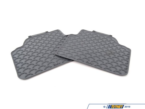 T#110032 - 51470427559 - Genuine BMW Rubber Floor Mats Rear - Grey - E90 Sedan - Genuine BMW -