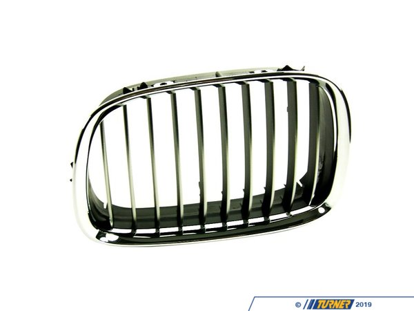 T#20999 - 51138184531 - Genuine BMW Chrome Grill - Left - E39 540i  1997-2000 - This Genuine BMW front left kidney grill for E39 540i sedan and wagon has the stock chrome trim with chrome slats. It is a direct snap in replacement for the stock grill. This item fits the following BMWs:1997-2000  E39 BMW 540i - Genuine BMW - BMW