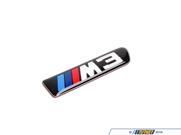 T#12780 - 51138042228 - Side Grill Emblem - Right - E9x M3 - Replace your faded or missing side grille M3 emblem with this Genuine BMW part.  This part has an adhesive backing so it is a quick and easy item to replace.  This is the right (passenger side) emblem.This item fits the following BMWs:2008-2011  E90 BMW M3 - Sedan2008-2013  E92 BMW M3 - Coupe2008-2013  E93 BMW M3 - Convertible - Genuine BMW - BMW