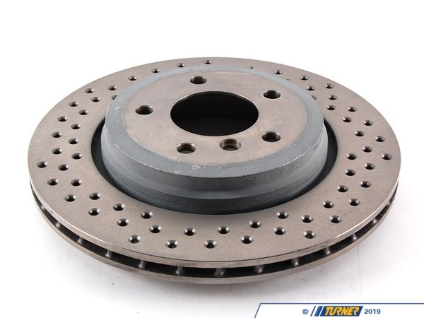 T#5132 - 34212282873 - BMW Performance Cross-drilled Rear Brake Rotors - E46 330i - Genuine BMW -
