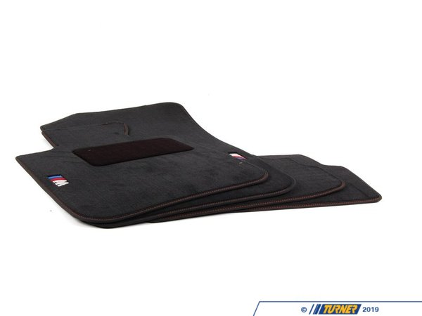 "T#24909 - 82112293541 - Genuine BMW - E82 1M Floor Mats (Black with ""///M"" Logo and Orange Stitching) - Genuine BMW - BMW"
