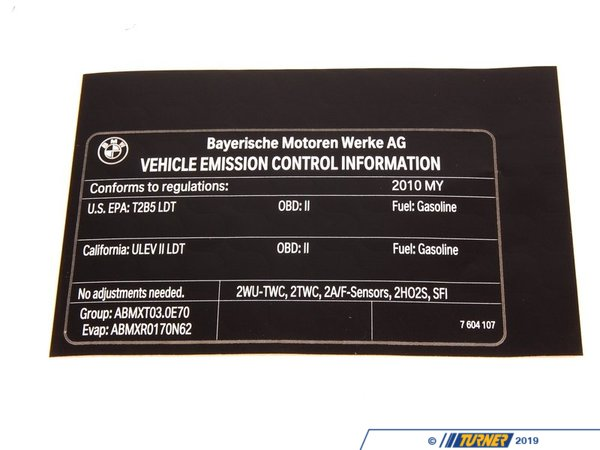 "T#156912 - 71227604107 - Genuine BMW Label ""Exhaust Emission"" Mj10 - 71227604107 - E70 X5 - Genuine BMW -"