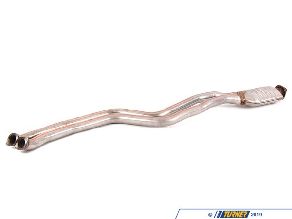 T#13211 - 18307599743 - E82 135i Original BMW N55 Midpipe  - This factory midpipe from the N55 135i is a sound enhancement when used on the twin-turbo N54 models. This N55 midpipe does not have the secondary catalytic converters in place that the N54 cars had. Instead there are straight pipes leading to the resonator. Without the secondary catalytic converters in place the exhaust is louder and with more of a burble and rumble. It's a great first upgrade to make the N54 engine a bit louder and more aggressive! The problem with turbo engines is that the turbo itself will dampen the sound and make the engine harder to hear. And the N54 135i engine is further dampened by the secondary cats. This can be a problem on the track when you want other drivers to be able to hear you. This center section will restore some of that lost volume and open up the N54 engine. With less backpressure the turbos can spool up faster which will make a modest power improvement. There's an added bonus for the 1M coupe - drastically reduced droning at light throttle.This is the factory BMW N55 midpipe. It's a direct fit to either the N54 or N55 engined cars with all of the correct bends and crimps to fit the E82 or E88 chassis. But it will only change the sound characteristics for cars with the N54 engine. The N54 and N55 use the same exhaust gaskets, rings, and hangers.This product modifies (but does not remove or defeat) emissions equipment. For this reason this product may not be CARB compliant, and therefore not emissions legal in some states. Consult local laws and regulations in your area. For more information on this product, feel free to contact our sales department.This item fits the following BMWs:2008-2013  E82 BMW 135i 1M Coupe - Genuine BMW - BMW