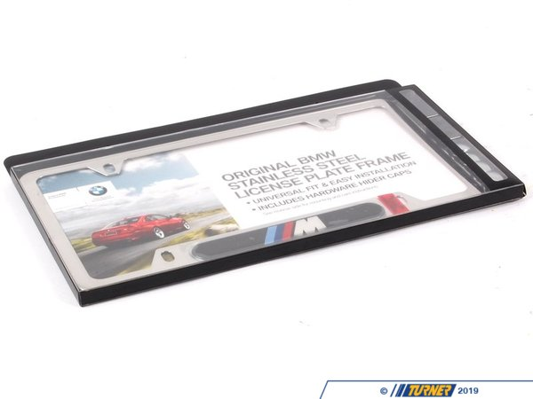 T#373 - 82120010405 - License Plate frame Silver Polished w/ M logo - Genuine BMW - BMW